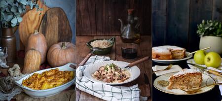Menú completo con alimentos de otoño en el paseo por la gastronomía de la red