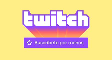 El logo de Twitch con un anuncio sobre las suscripciones más baratas