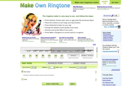 Make Own Ringtone, crea tus tonos de móvil a través de Internet