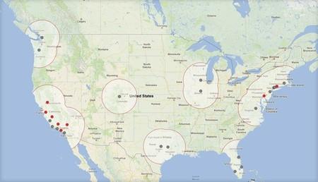 Mapa de la Red de Supercargadores de Tesla (Verano 2013)