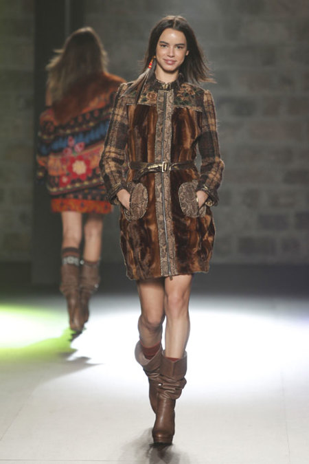 Abrigo Desigual piel y lana