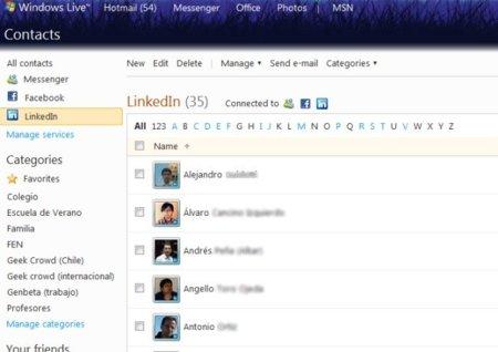 Contactos de LinkedIn en Windows Live