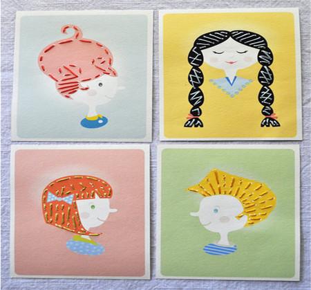 Manualidad con aguja e hilo: dibujar cabellos de los muñecos cosiendo