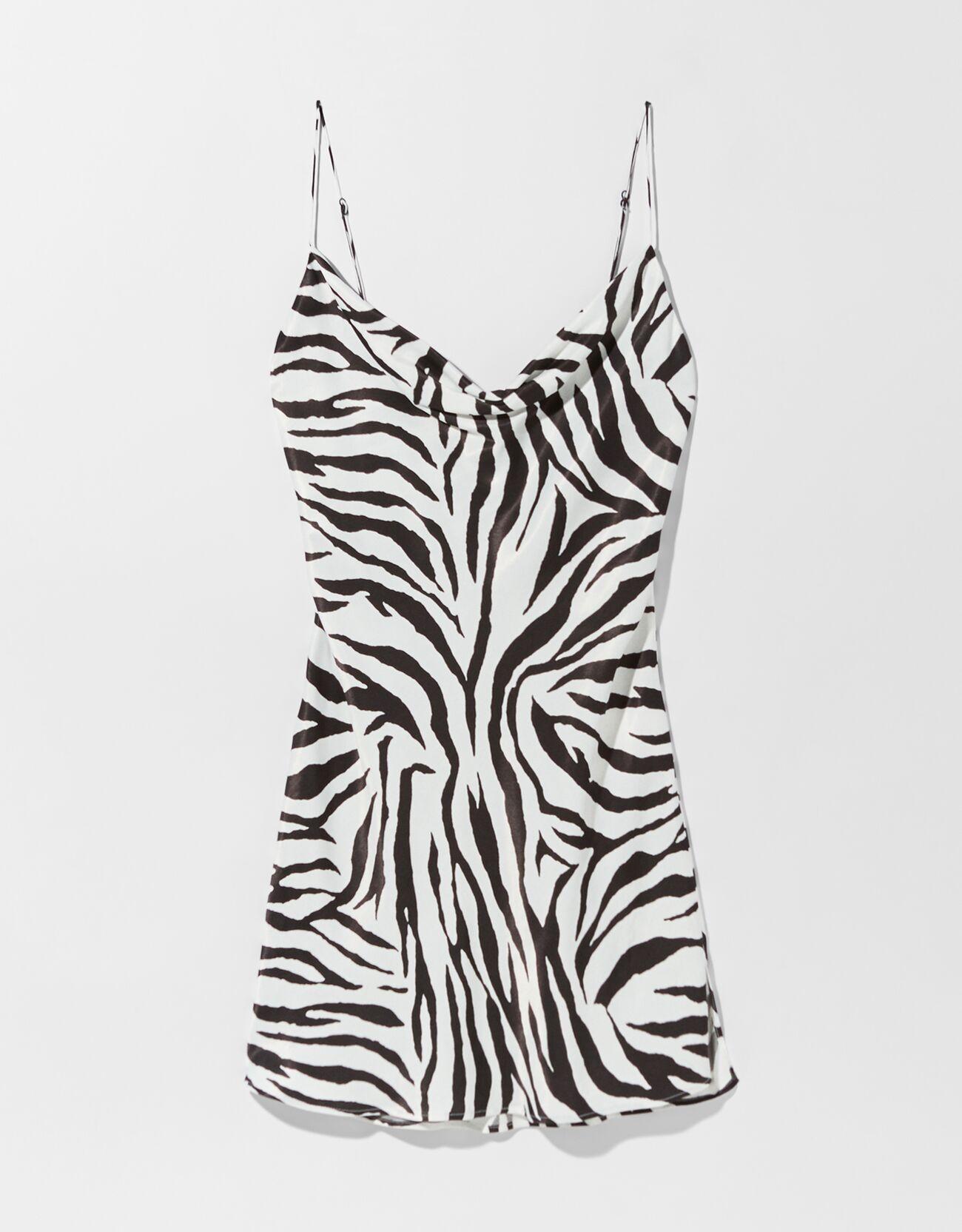 Vestido mini satén print cebra.