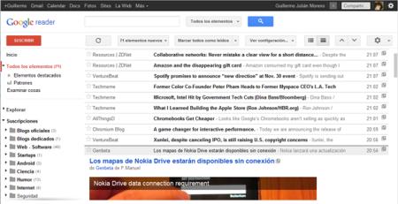 Google Reader ya permite seleccionar la densidad de información al estilo Gmail