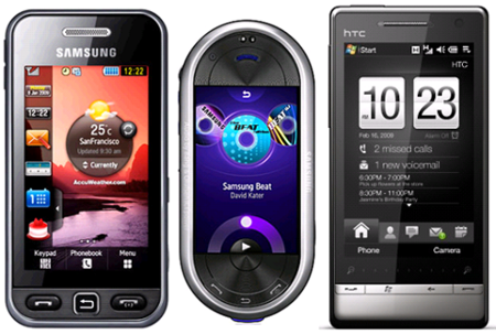 Samsung Star, Samsung Beat DJ  y HTC Diamond2 con Orange