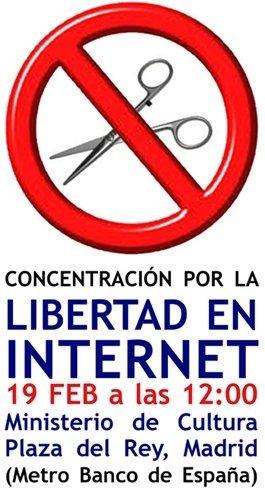 Este sábado concentración frente al Ministerio de Sinde en defensa de la libertad en Internet