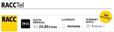 La tarifa ilimitada con 3 GB también llega a RACCTel