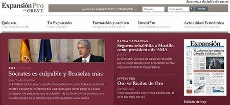 ExpansionPro versión de pago del periódico Expansión en la red