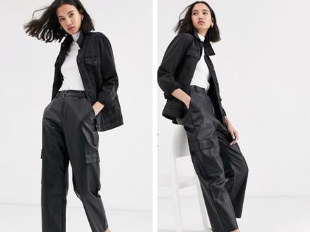Pantalones Cargo Negro Asos