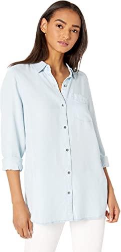 Marca Amazon - Daily Ritual: túnica de tencel y manga larga con botones para mujer.