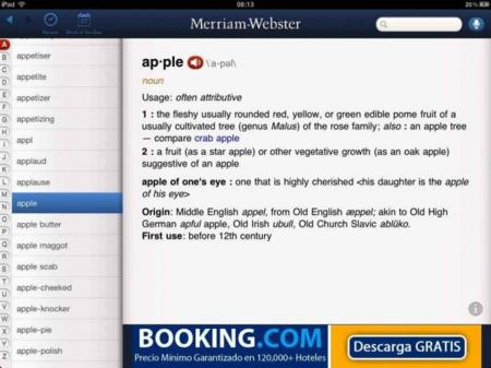 Merriam-Webster, un estupendo diccionario de inglés en iOS