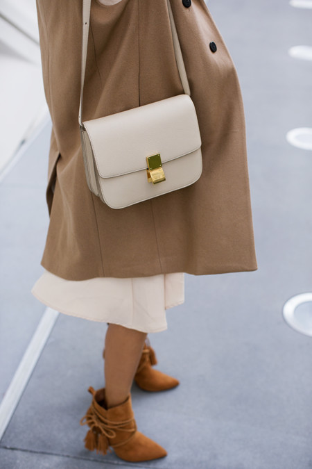 Aimee Song Of Style Beige Celine Box Bag Camel Coat Schutz Fringe Boots