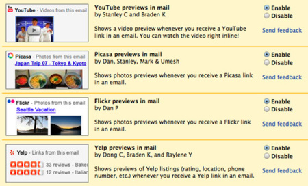 Gmail Labs se integra con Youtube/Flickr/Picasa/Yelp