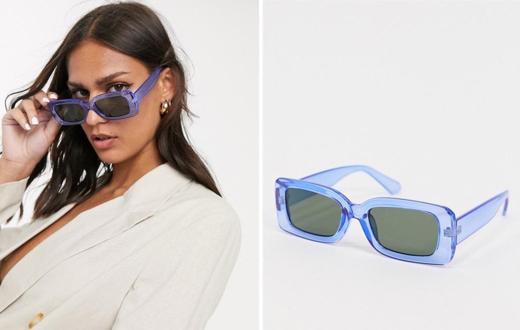 Gafas de sol con montura cuadrada en azul intenso