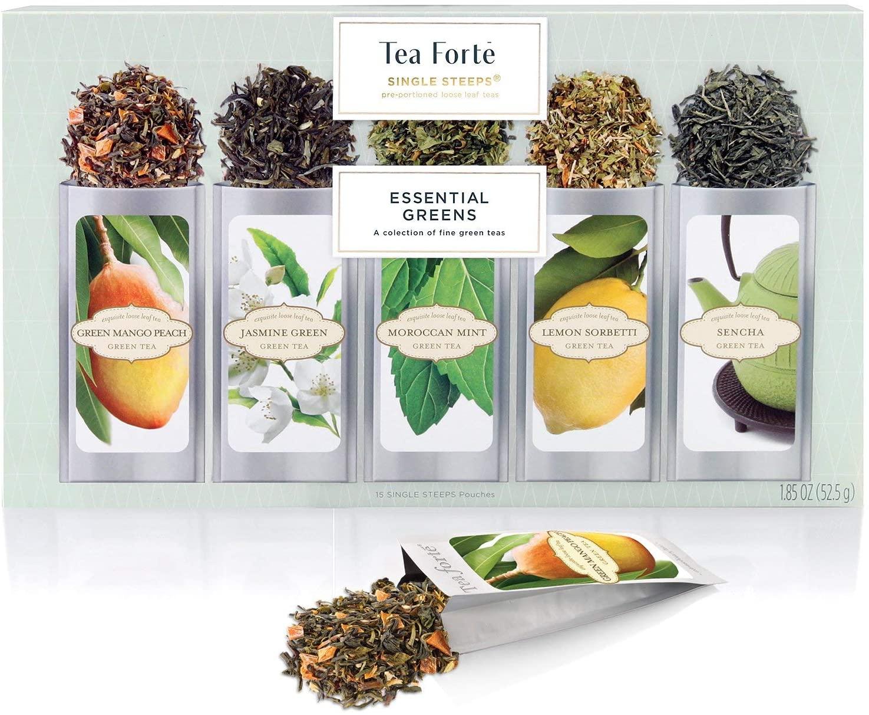 Surtido de hojas sueltas de té verde Tea Forte