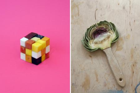 Creaciones surrealistas mezclando alimentos con objetos