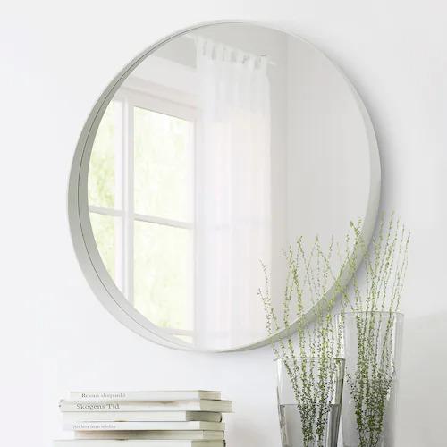 Espejo blanco circular con diámetro de 80 cms