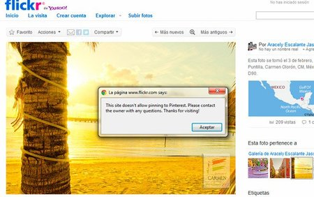 Flickr deshabilita la posibilidad de compartir directamente las imágenes con copyright en Pinterest