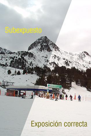 Ejemplo de subexposición exposímetro en nieve