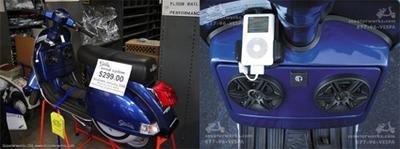 Vespa con sistema estéreo y dock para el iPod
