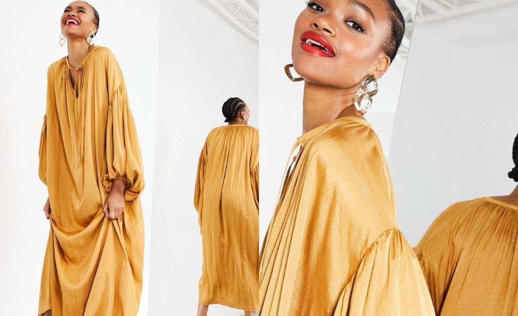 Vestido largo extragrande color caramelo con mangas de blusón de ASOS EDITION