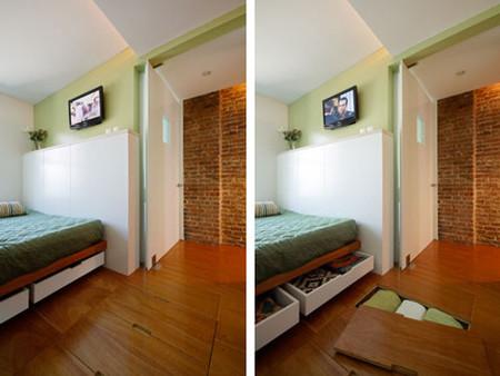 Una buena idea, espacio de almacenamiento bajo el suelo