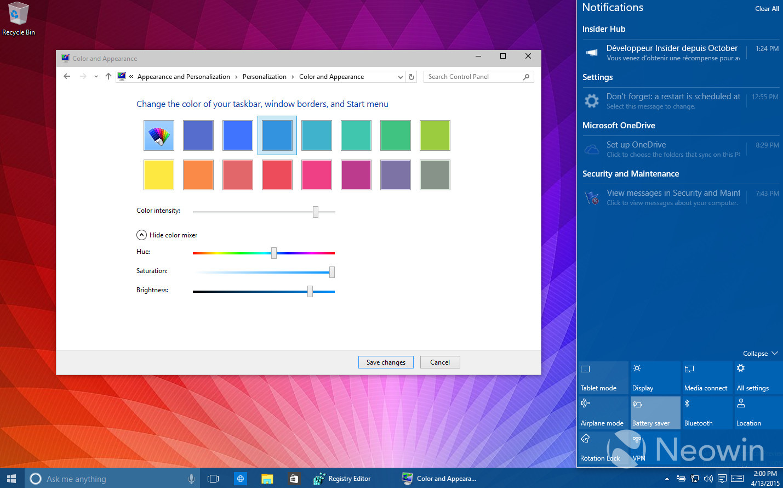 Temas de colores en Windows 10 build 10056