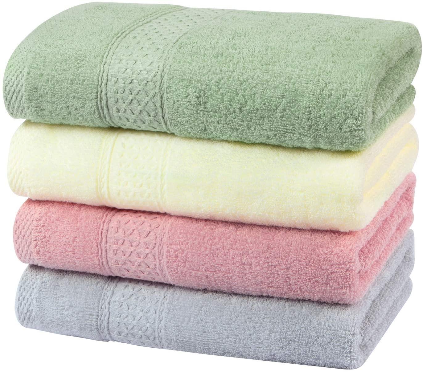 Yoofoss Juego de 4 Toallas de Mano 100% algodón