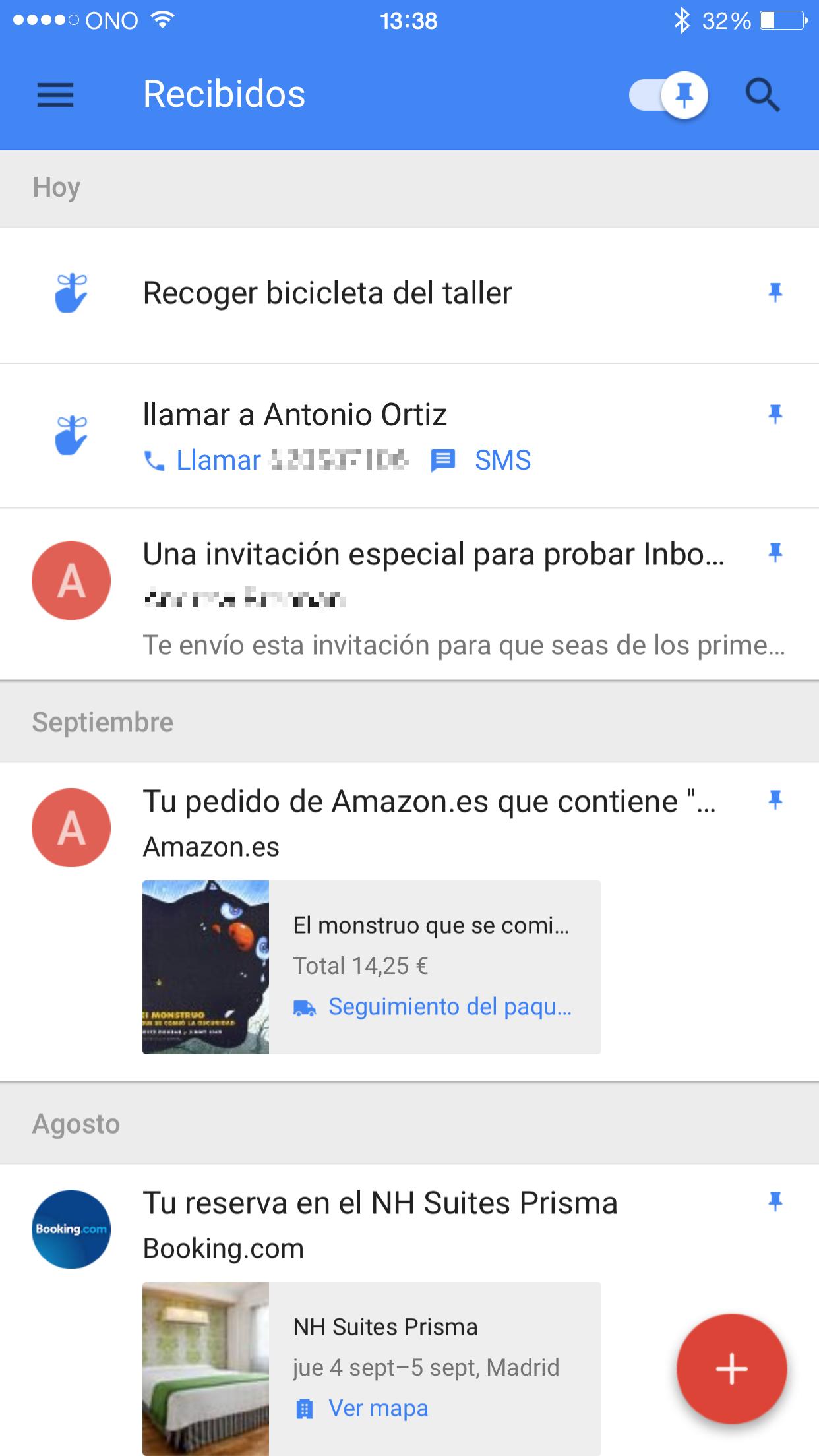 Interfaz app movil Inbox