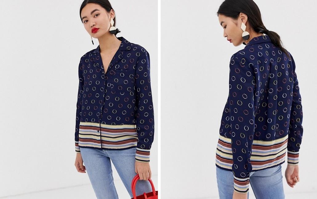 Camisa estilo pijama con lunares y rayas