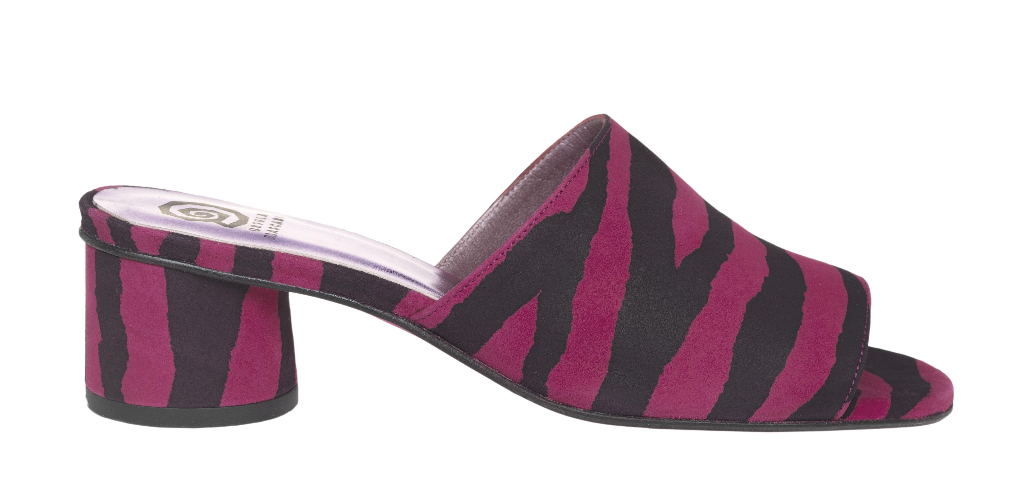 Sandalias de tacón de mujer Úrsula Mascaró en ante con estampado de cebra