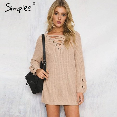 Simplee Lace Up Knitted Winter Sweater Women Loose White Pullover Elastic Waist Knitwear Casual Winter Outwear