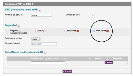 Seguridad wifi - menu