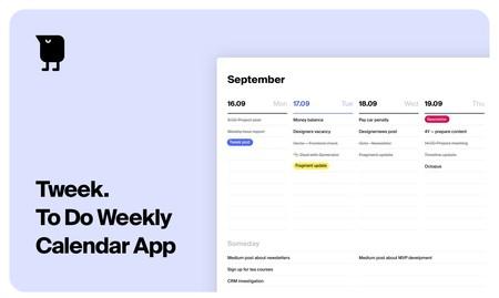 Una plantilla semanal para organizarlo todo: Tweek es un servicio gratuito para los que apuestan por el minimalismo