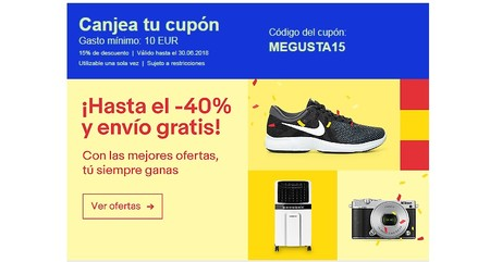 Cupón  de 15% de descuento en eBay en artículos ya rebajados hasta un 40% y con envío gratis