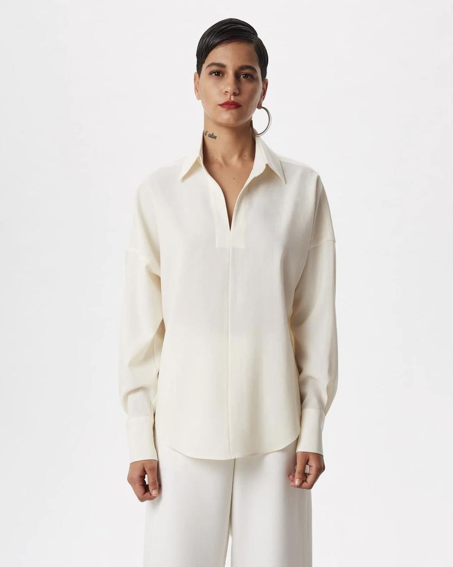 Blusa de mujer con cuello camisero en crudo