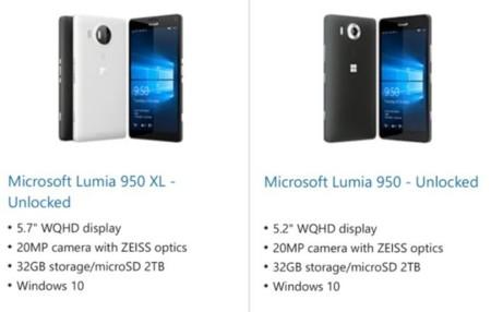 Se filtran por error las especificaciones oficiales de los nuevos Microsoft Lumia 950 y 950XL