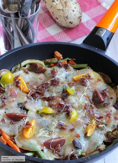 Verduras y hortalizas salteadas con velo ibérico. Receta