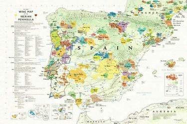 Mapa con las regiones vinícolas de la Península