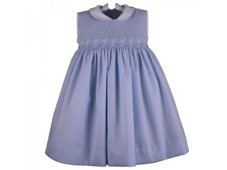 vestido punto smock azul