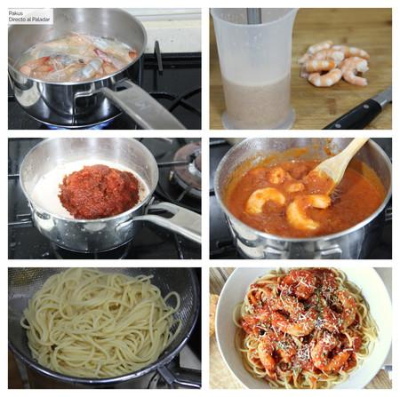 Espaguetis Tomate Gambas Pakus Paso A Paso Dap