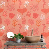 El Living Coral llega también a nuestras paredes con un papel pintado muy alegre