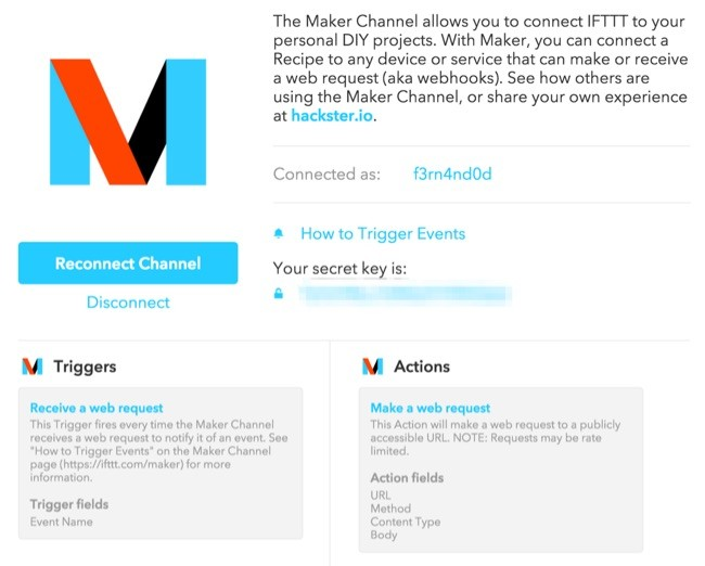 The Maker Channel en IFTTT