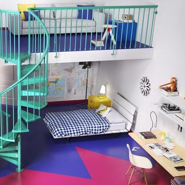 Originales habitaciones juveniles que tienen entre sus elementos más destacados una escalera