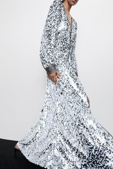 Vestido Zara Lentejuelas Plata