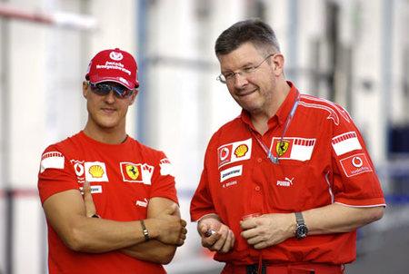 Ross Brawn y Schumacher en su etapa de Ferrari