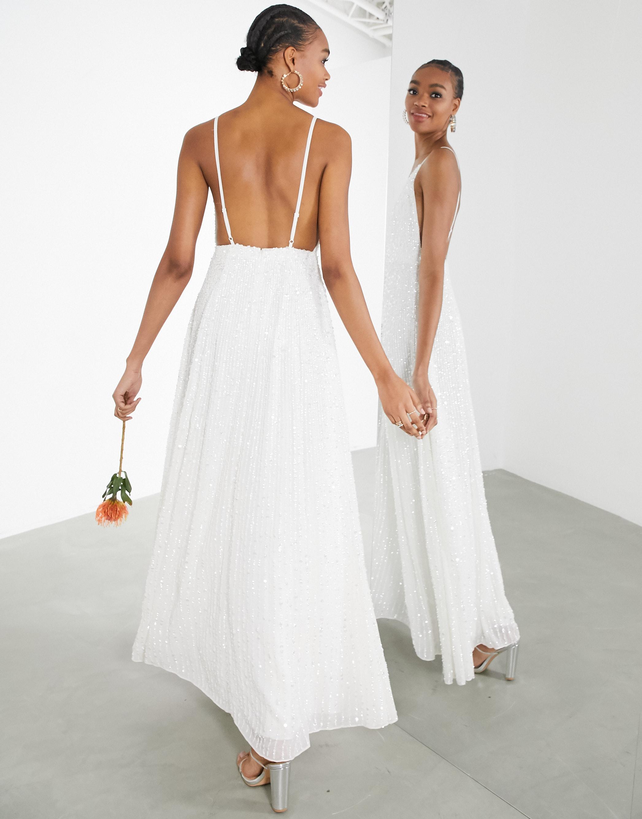 Vestido de novia de tirantes con lentejuelas