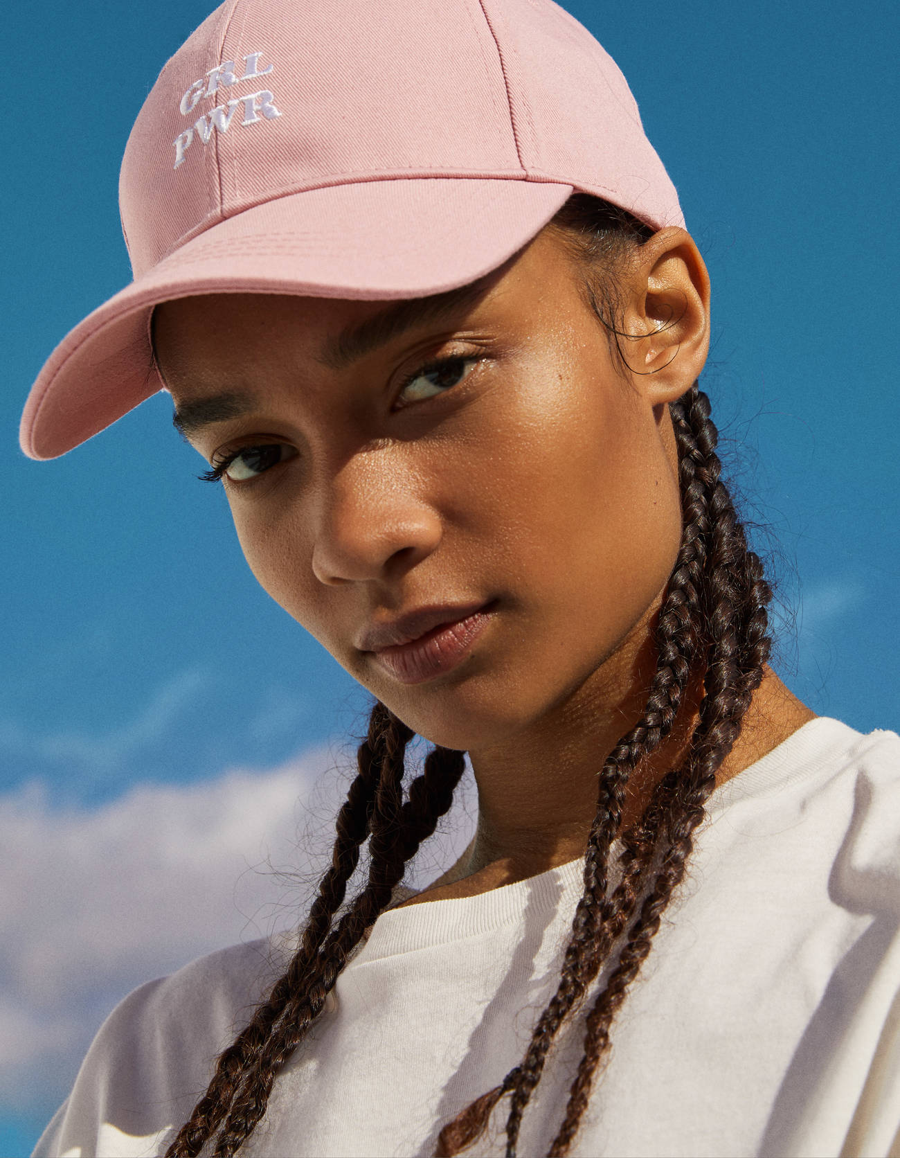 Hat pastel pink with embroidered 'Girl Power'