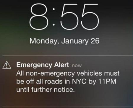 Mensaje WEA del temporal de invierno en Nueva York